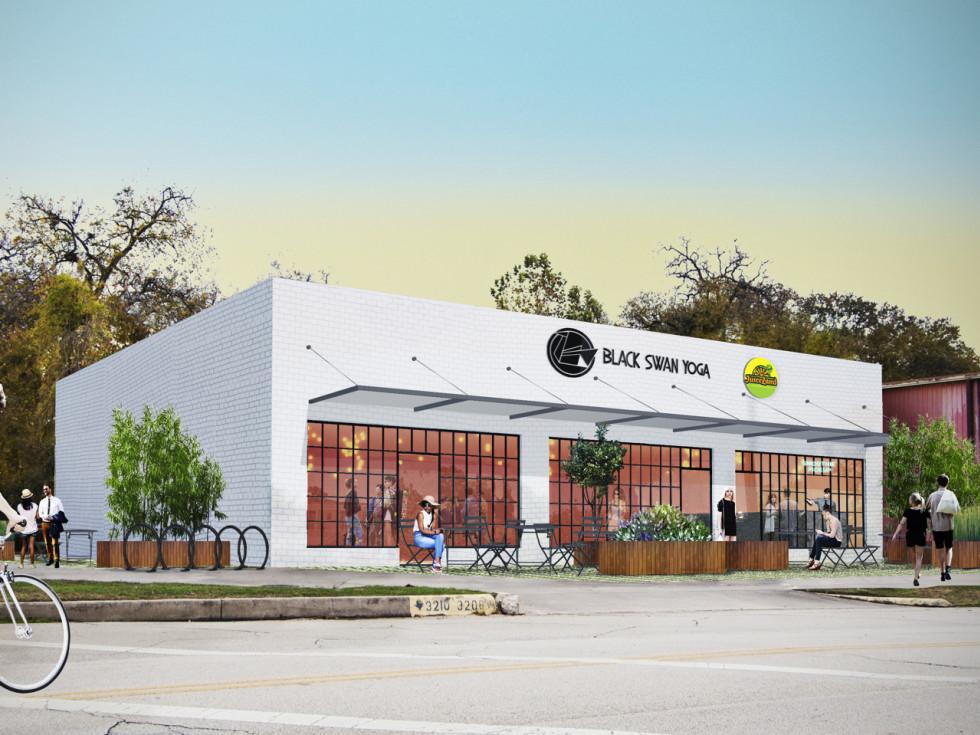 Juiceland and Black Swan Yoga Heights building rendering