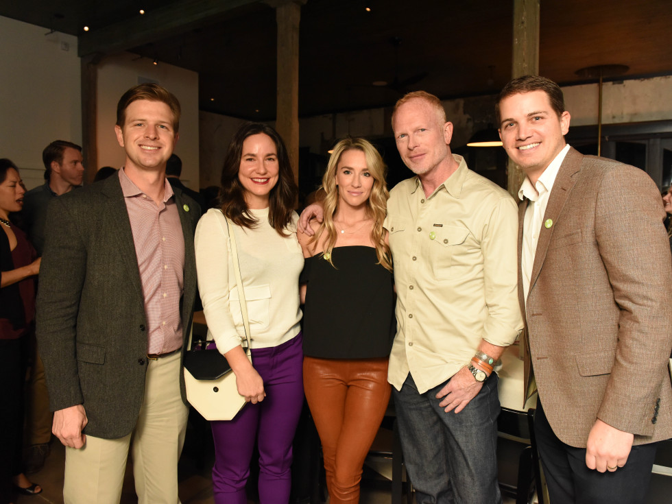 News, Pier & Beam party, Dec. 2015, chair Rob MacAskie, Kelly Barnhart, chair Emily Burke, Blair Gordon, chair Ed Persia.