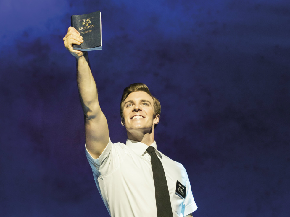 Billy Harrigan Tighe in The Book of Mormon landscape