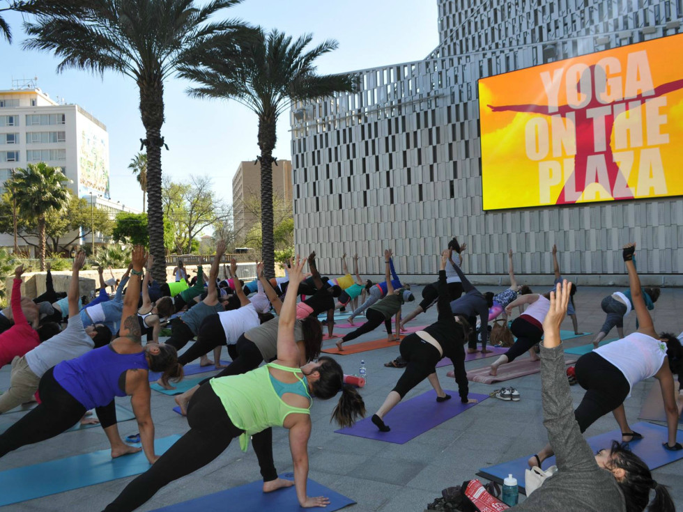 Tobin Center for the Performing Arts River Walk Plaza yoga fitness 2015