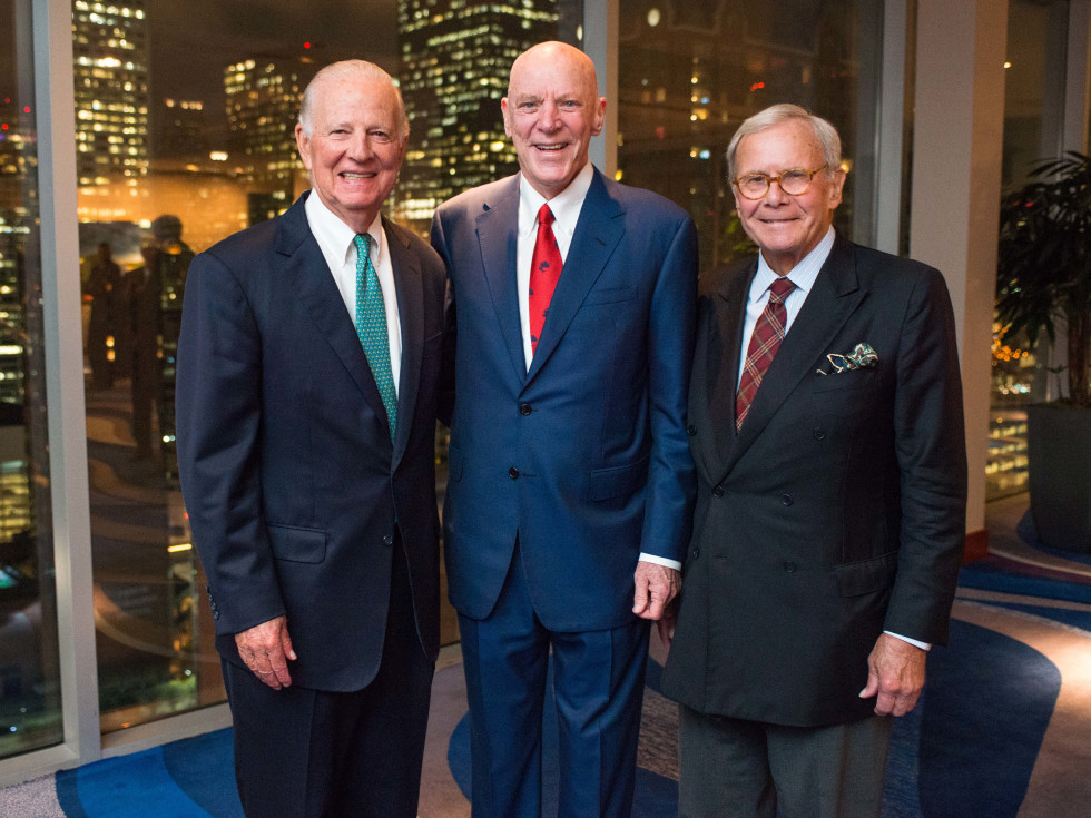 News, Shelby, MD Anderson Living Legend, Nov. 2015, James Baker, Bob McNair, Tom Brokaw