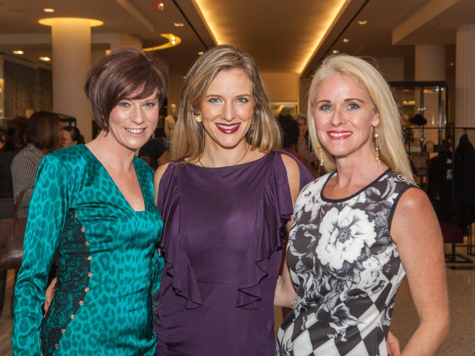 Christine Kearns, Sally Lechin, Christine Tabrizi at Heart of Fashion kickoff party