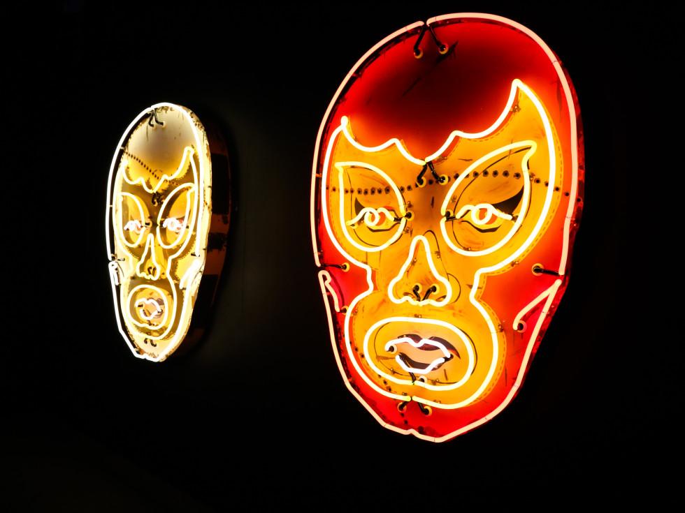 POP Austin International Art Show at Fair Market White Luchador Red Luchador by Todd Sanders