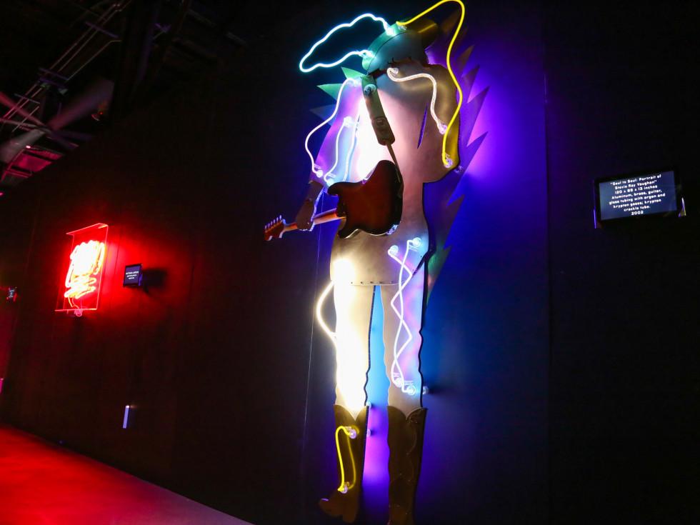 POP Austin International Art Show at Fair Market Soul to Soul: Portrait of Stevie Ray Vaughn by Lili Lakich