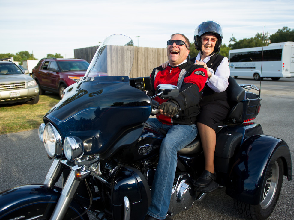 Christus Nun Run Motorcycle rider and nun