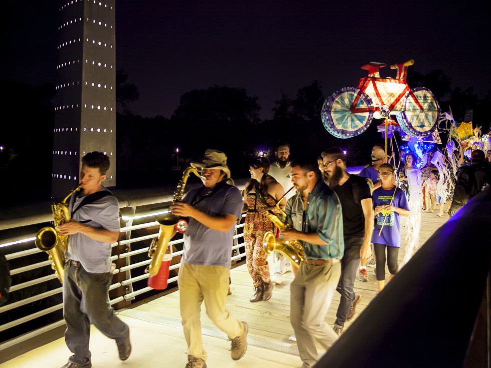 News, Shelby, Buffalo Bayou Park opening, Oct. 2015, night procession