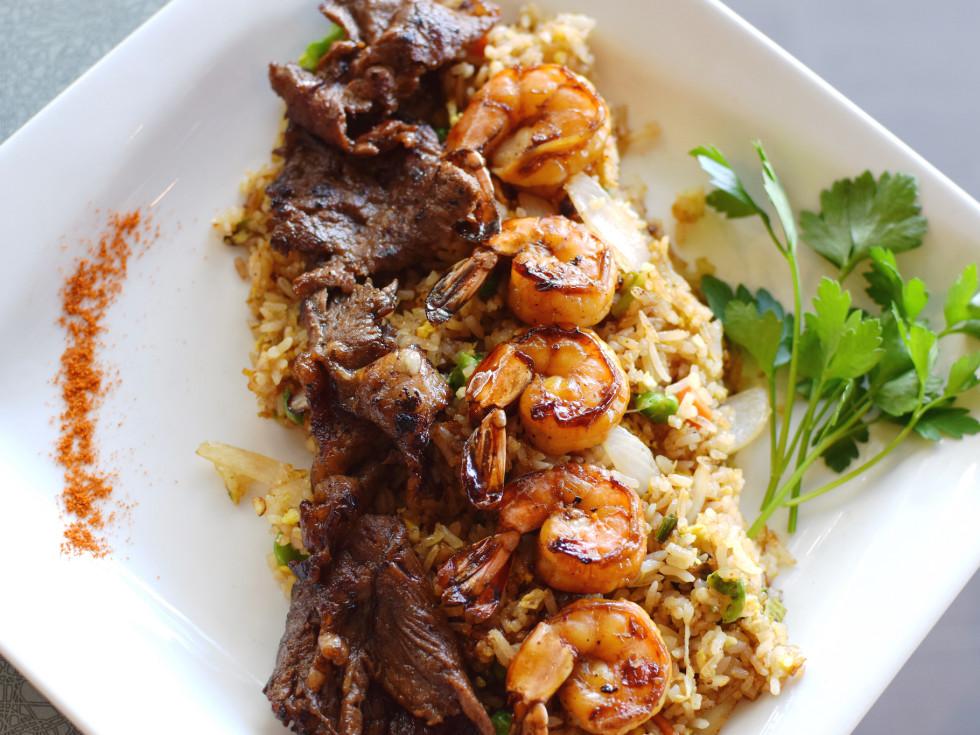 Saigon House stir fried rice with shrimp and steak