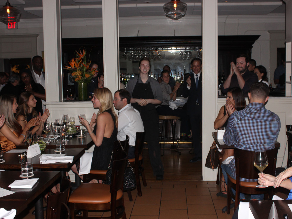 Houston, Cadillac Road to Table dinner, September 2015, chef Wilcox at Pax Americana speaking to diners