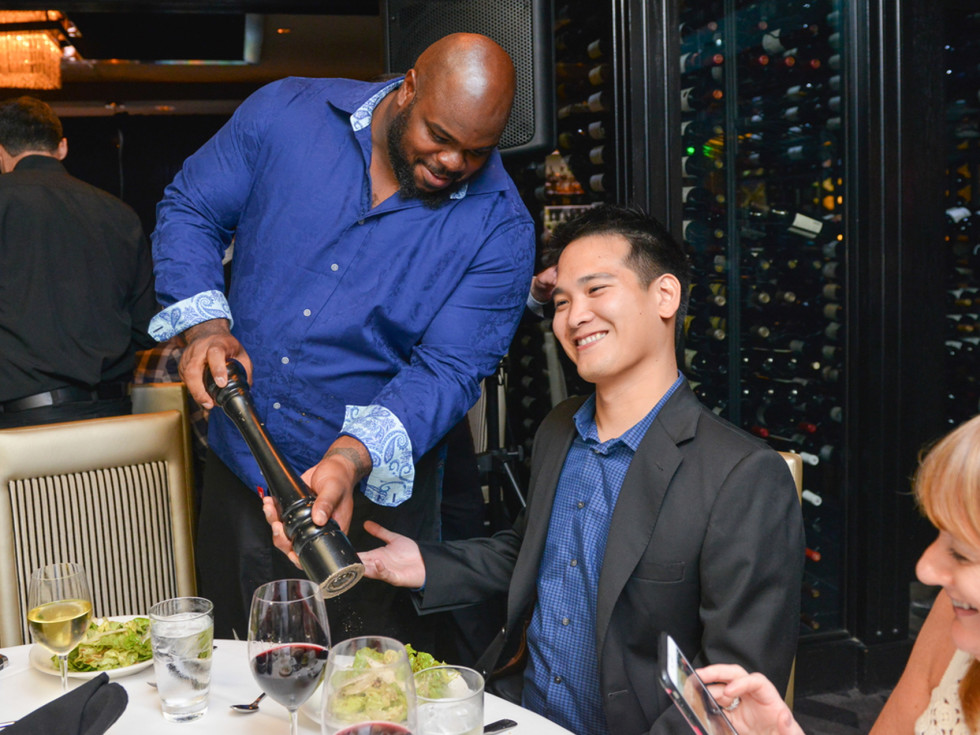 Arian Foster charity dinner Morton's Vince Wilfork