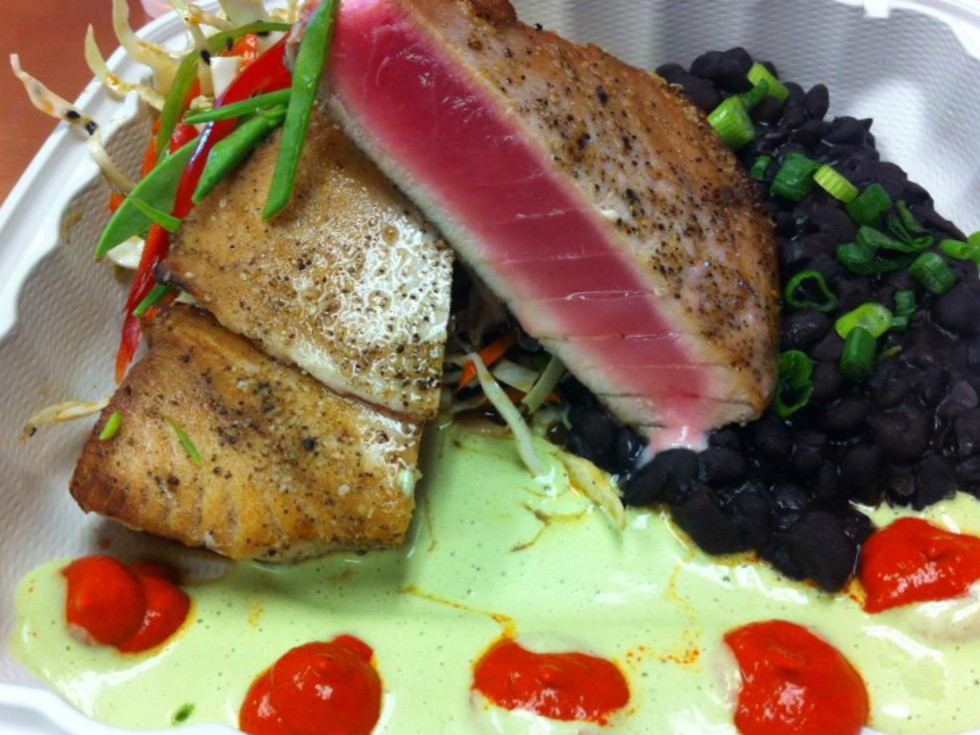 Irie's Island Food Port Aransas restaurant seared tuna dish 2015