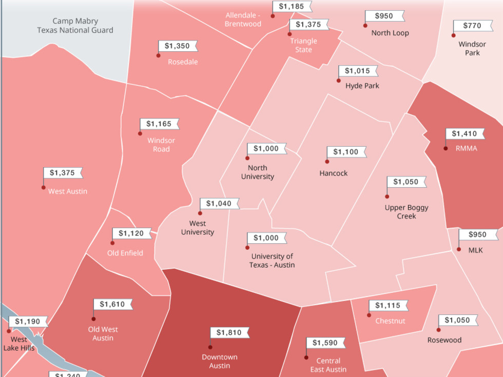 Austin rent price map Zumper.com