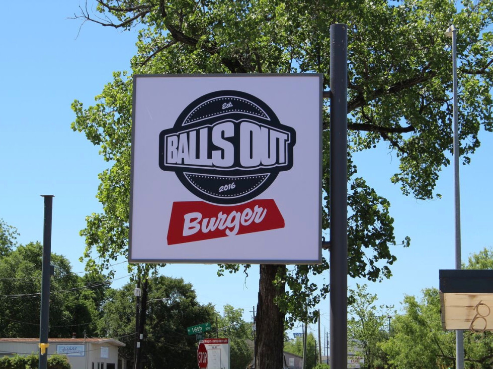 Balls Out Burger sign