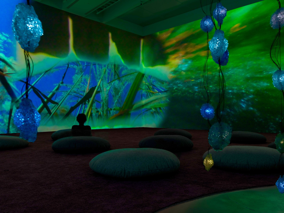 Houston, Pipilotti Rist exhibit, June 2017, floor view green