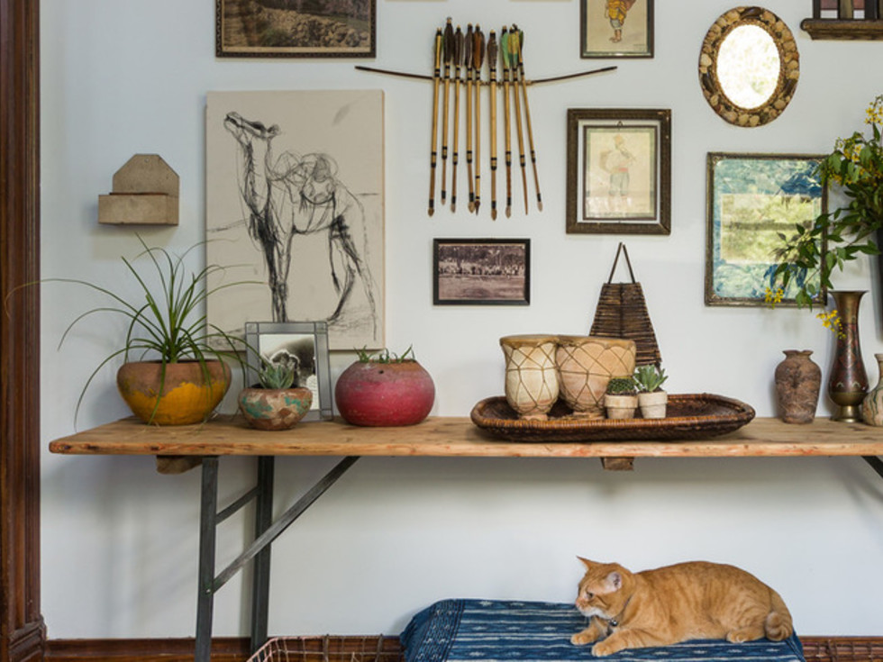 Houston, Houzz Bohemian-Chic Style Home for a New Family, June 2017, gallery wall
