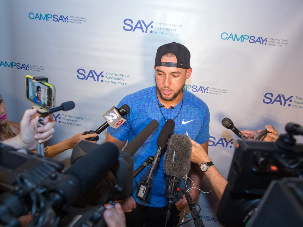 Houston, George Springer All Star Bowling Benefit for Camp Say, June 2017, George Springer takes questions from the media