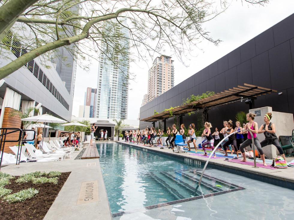 W Austin Hotel pool fitness class