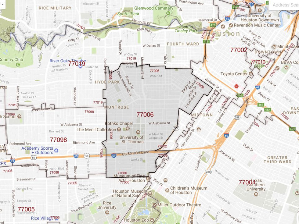 77006 Houston Montrose ZIP code map