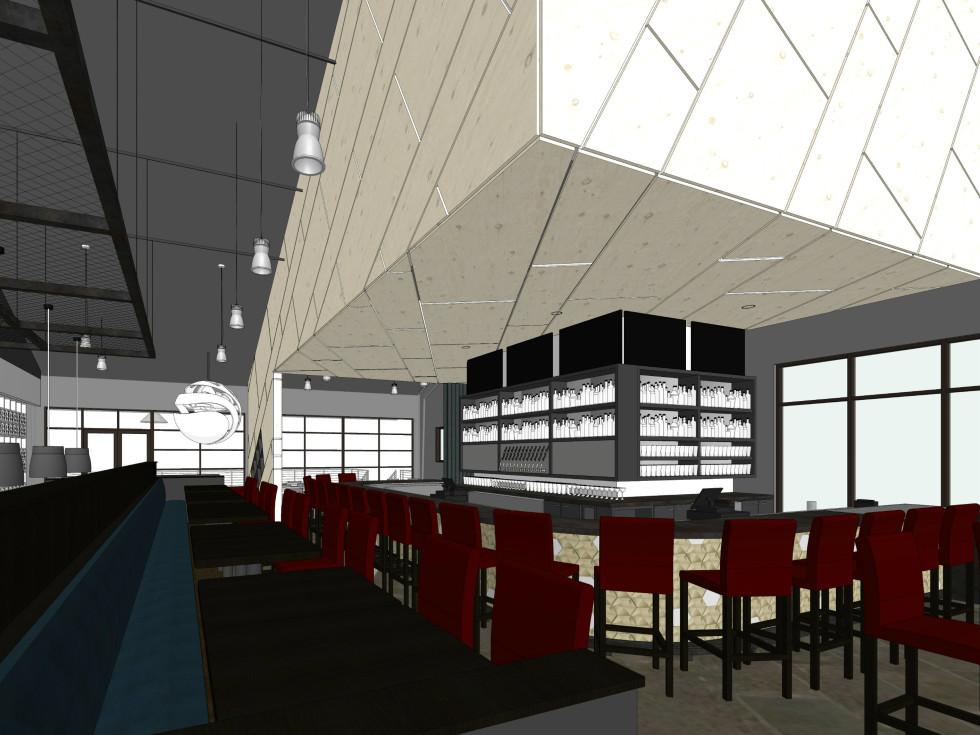 Rendering of Poitin interior bar area