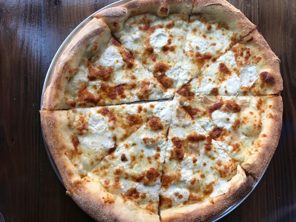 Pizaro's New York style pizza smoked mozzarella