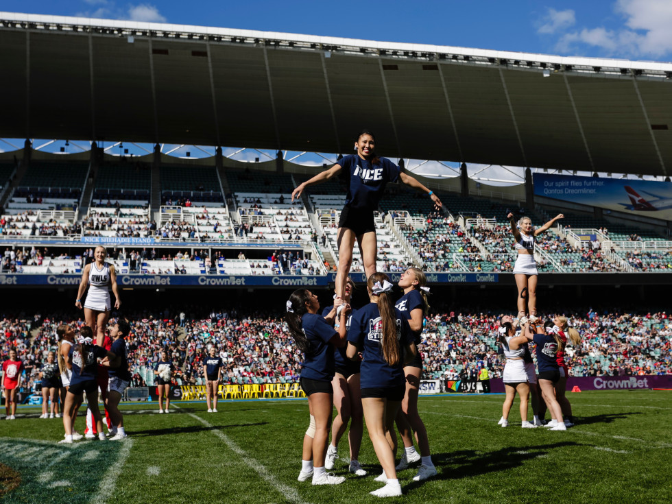 Rice and Stanford cheerleaders in Sydney Australia