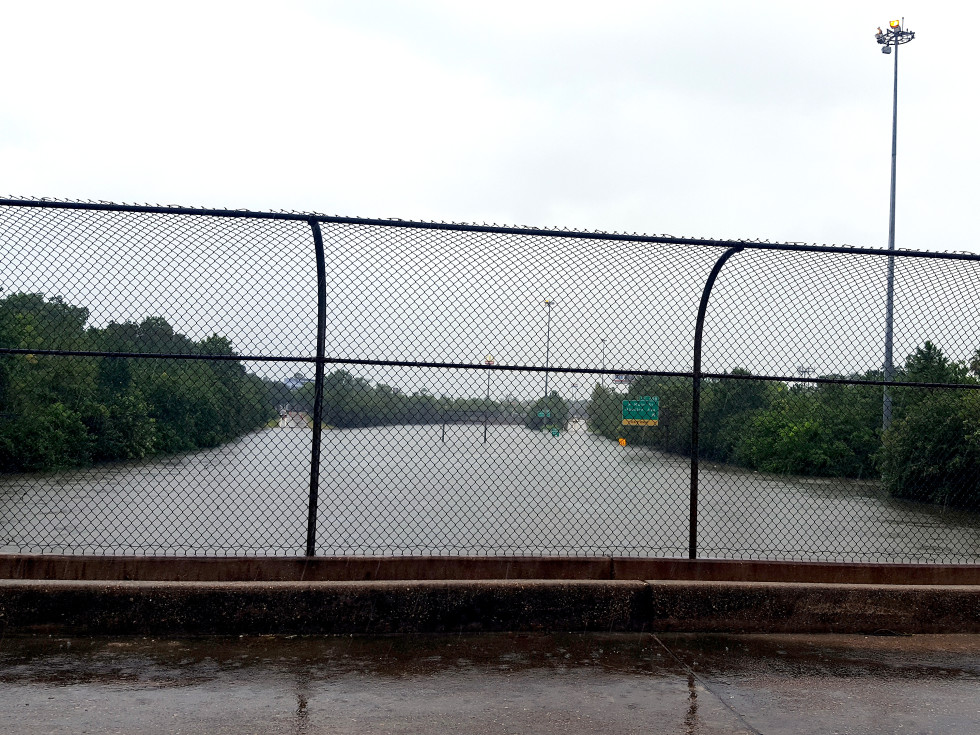 Houston, Hurricane Harvey, flood photos, I-45 at North Main looking north