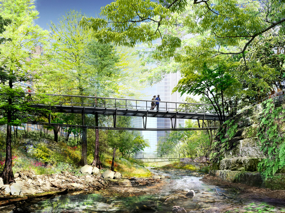 Waller Creek Plans Delta Lattice Bridge
