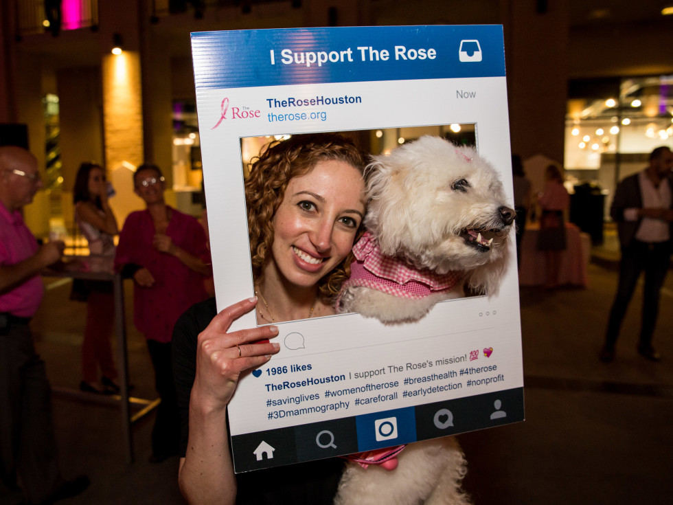 Houston, Marcy, West Ave Pink Party, October 2017, P'nina Topham and her dog, Winnie