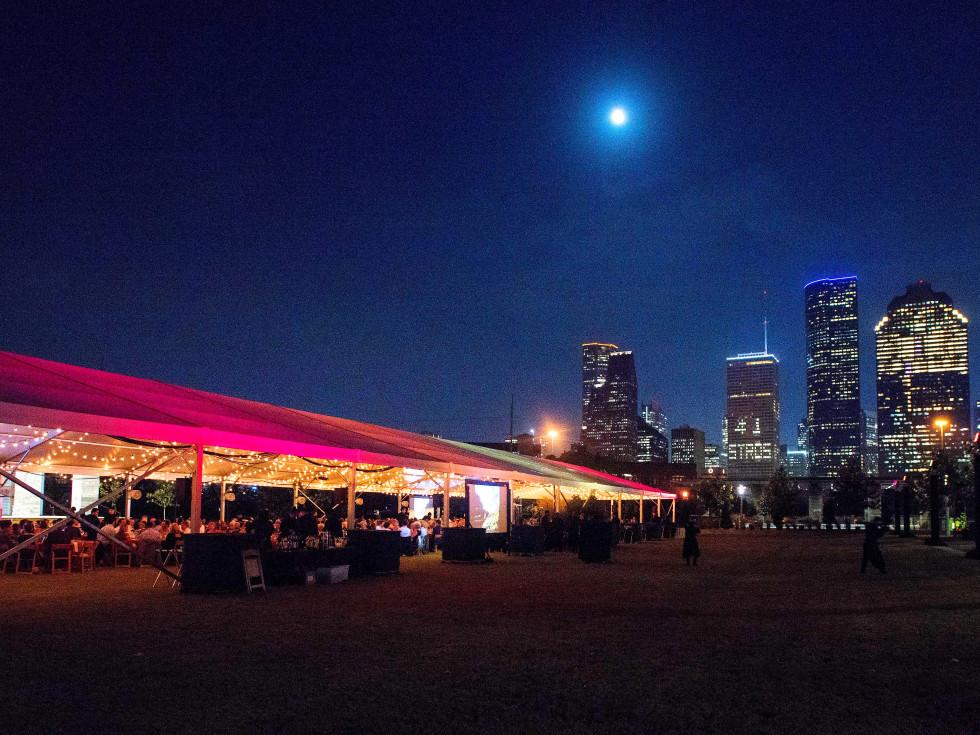 Houston, Buffalo Bayou Partnership Gala, November 2017, tent and downtown Houston