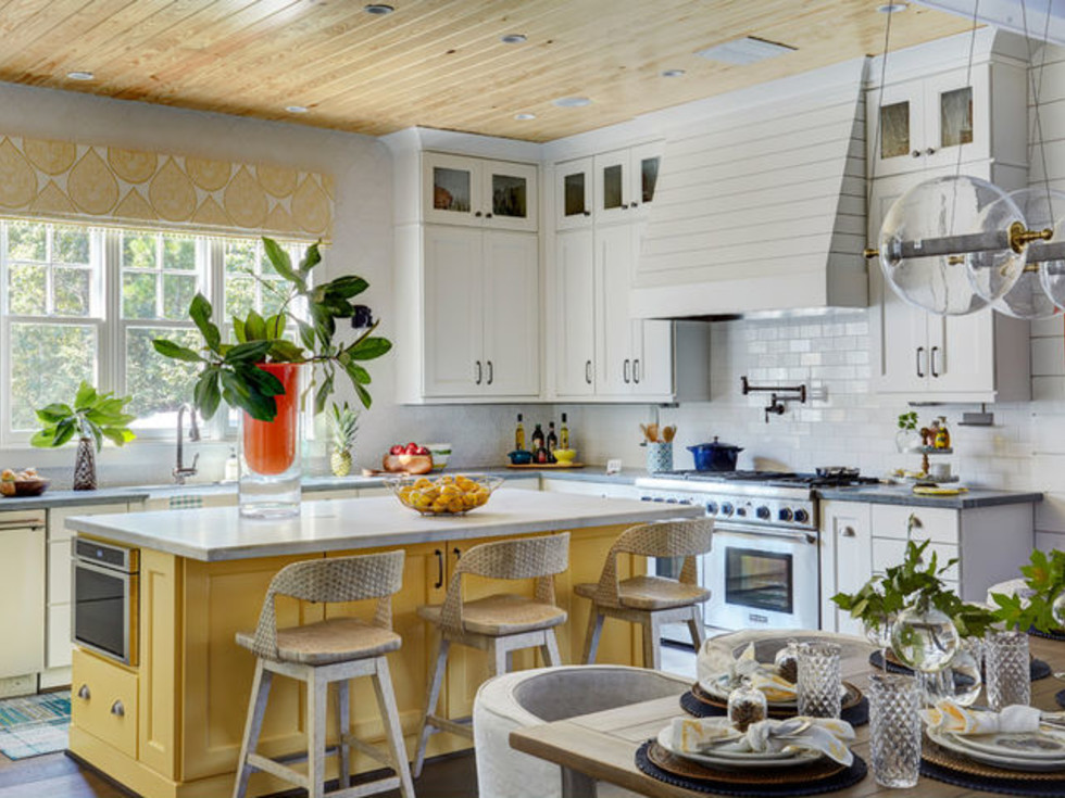 Houzz farmhouse kitchen yellow accents