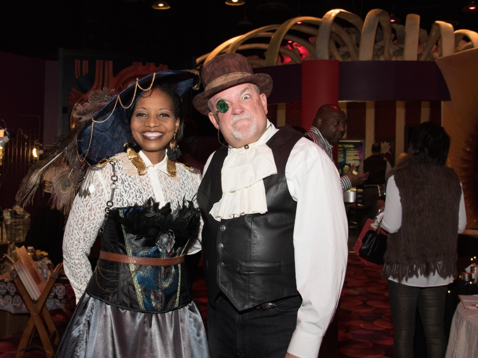 Melanie Johnson, Dr. Brian Parsley at Health Museum Steampunk gala