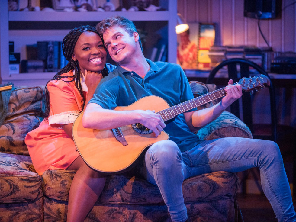 "Sky Williams and Kyle Igneczi in ""The Legend of Georgia McBride"" at Uptown Players"