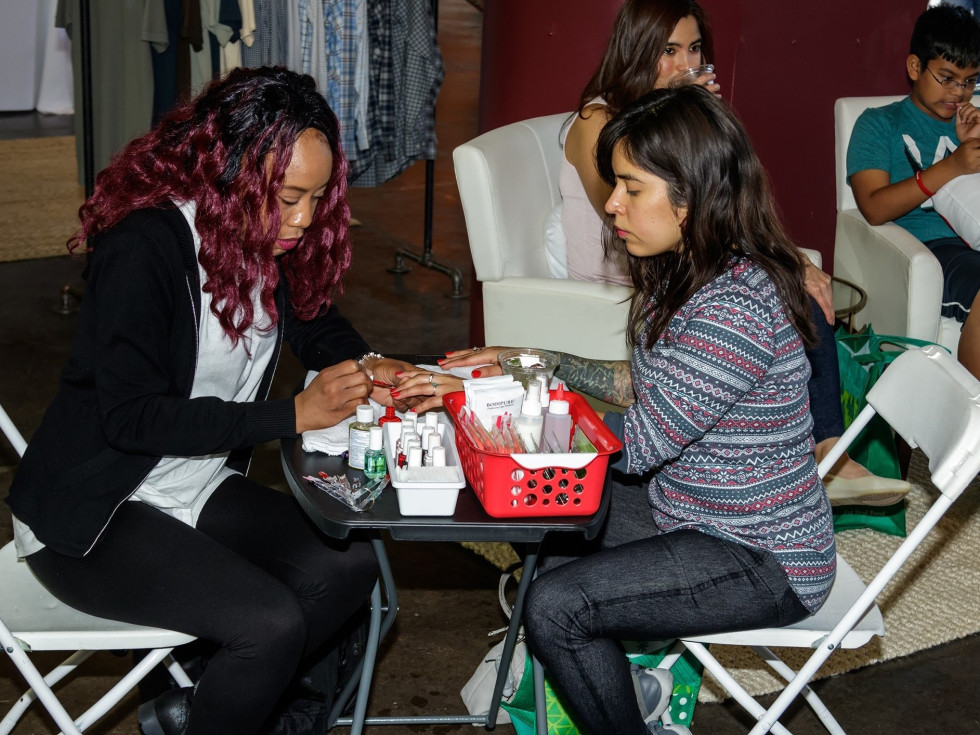Cherry manicure, CultureMap Dallas Holiday Pop-up 2017