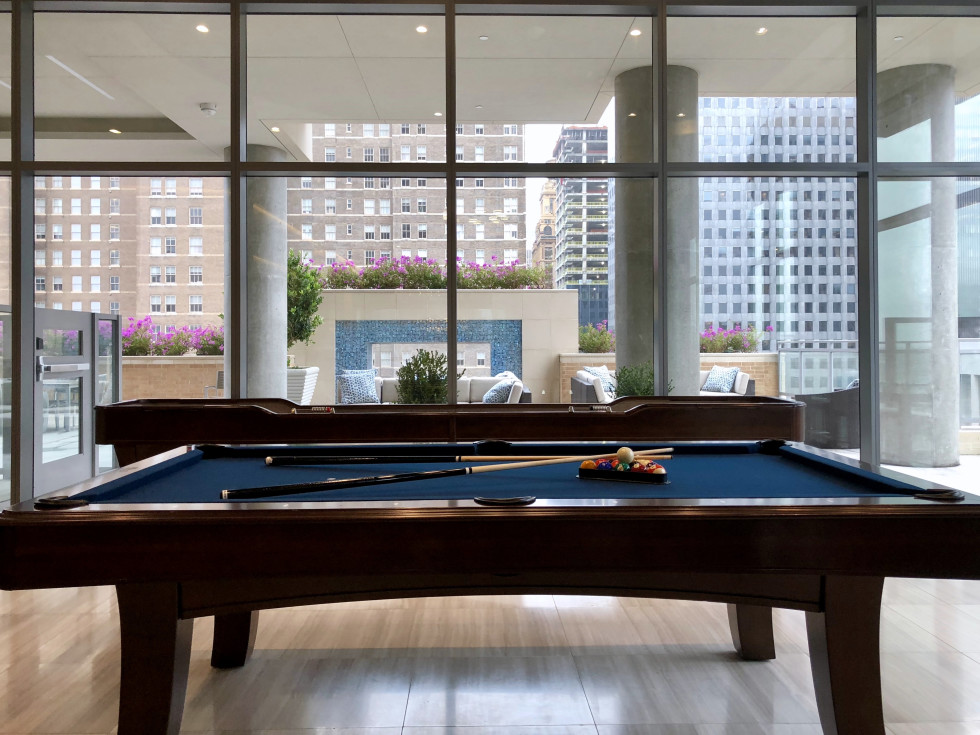 Houston, Aris Market Square, December 2017, pool table and shuffle board games for residents