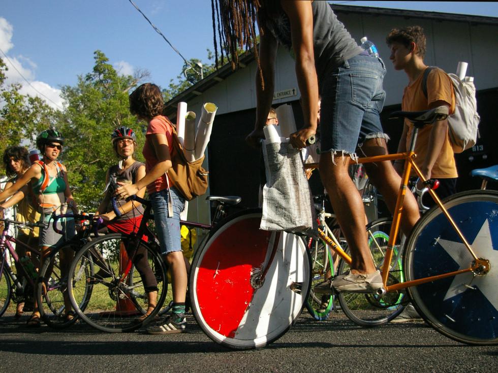 Austin Photo Set: News_Leah Moss_paper girl art_June 2011_bike