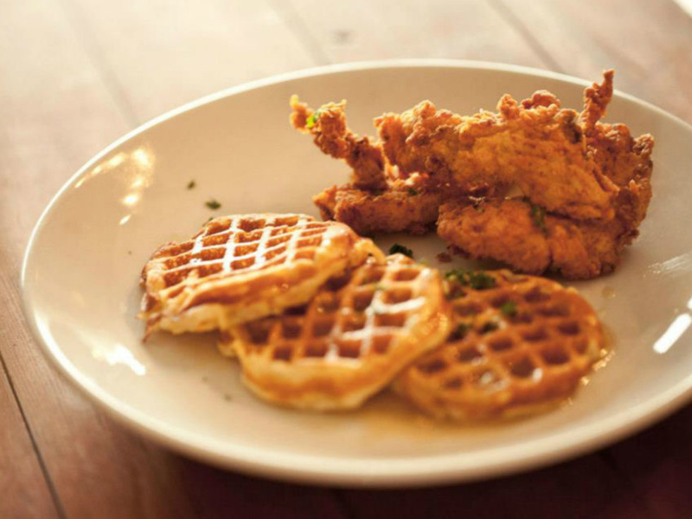 Chicken and waffles at Brewed in Fort Worth