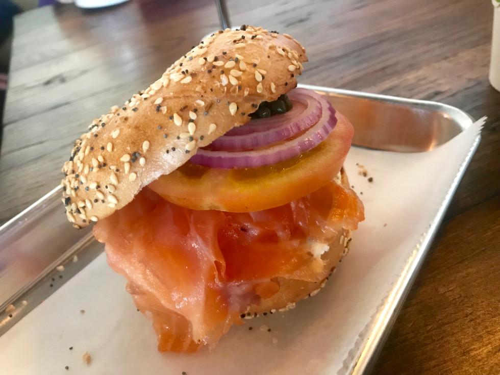 Golden Bagels & Coffee lox bagel sandwich