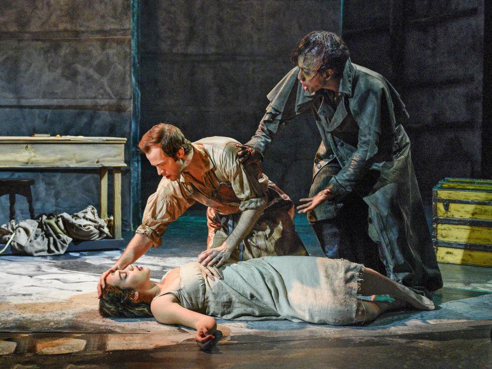Tia Laulusa, Kim Fischer, and Alex Organ in Dallas Theater Center's Frankenstein