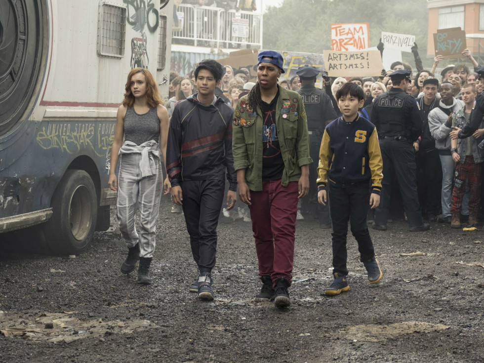 Olivia Cooke, Win Morisaki, Lena Waithe, and Philip Zhao in Ready Player One