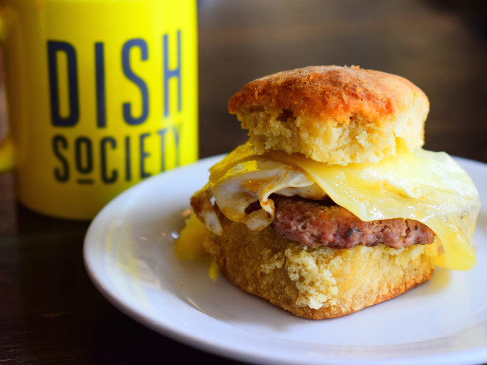 Dish Society Sausage Egg Cheese biscuit