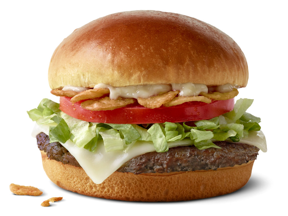 McDonald's Garlic White Cheddar Burger on artisan roll