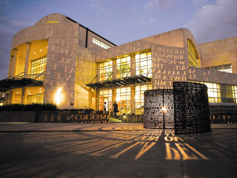 Places-Unique-University of Houston-library-exterior-night