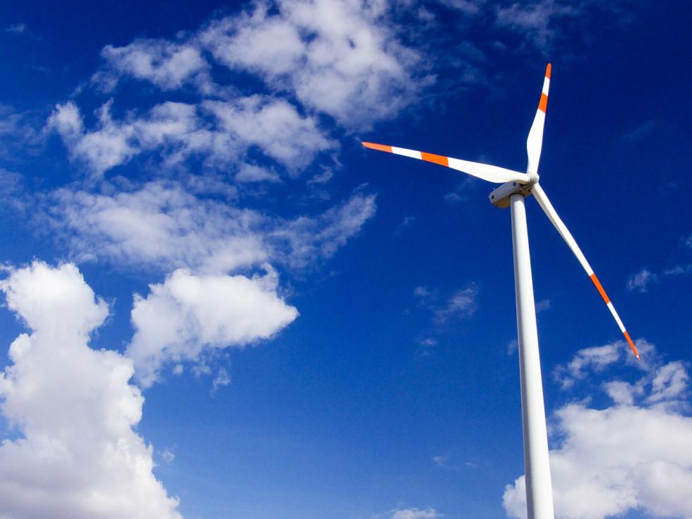 Wind turbine in the sky