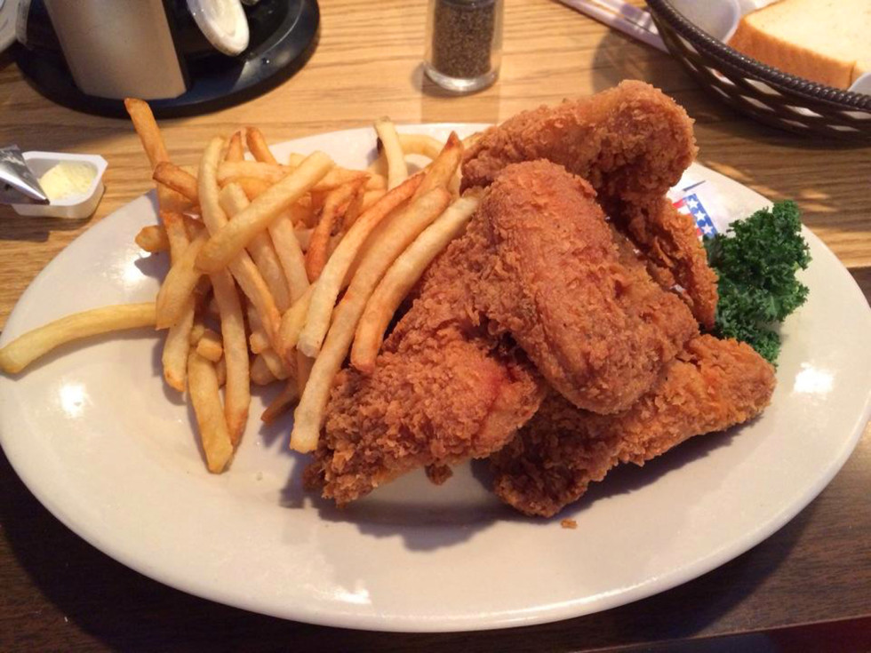 Barbecue Inn Houston fried chicken with french fries