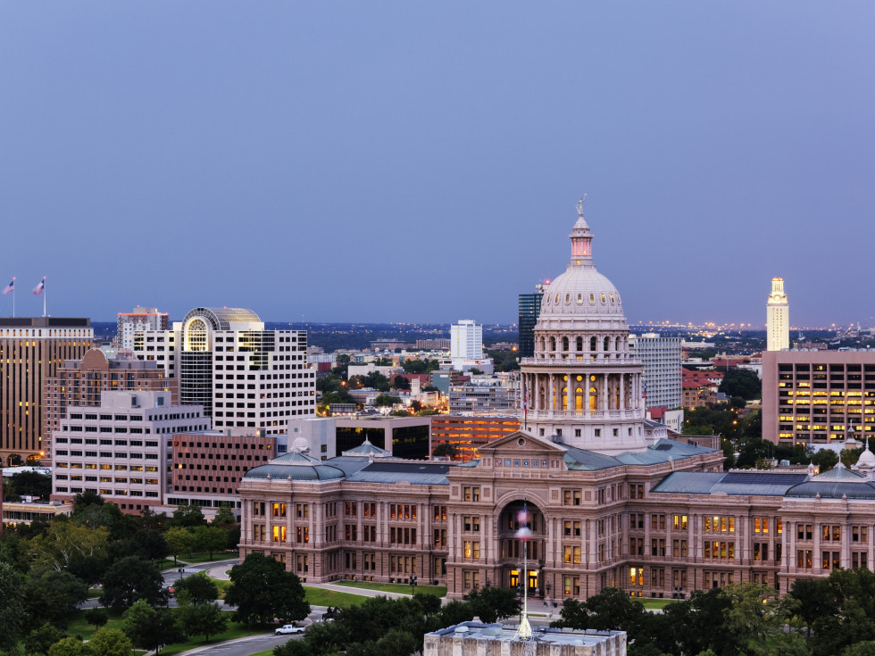 Austin cityscape with the Texas state capitol