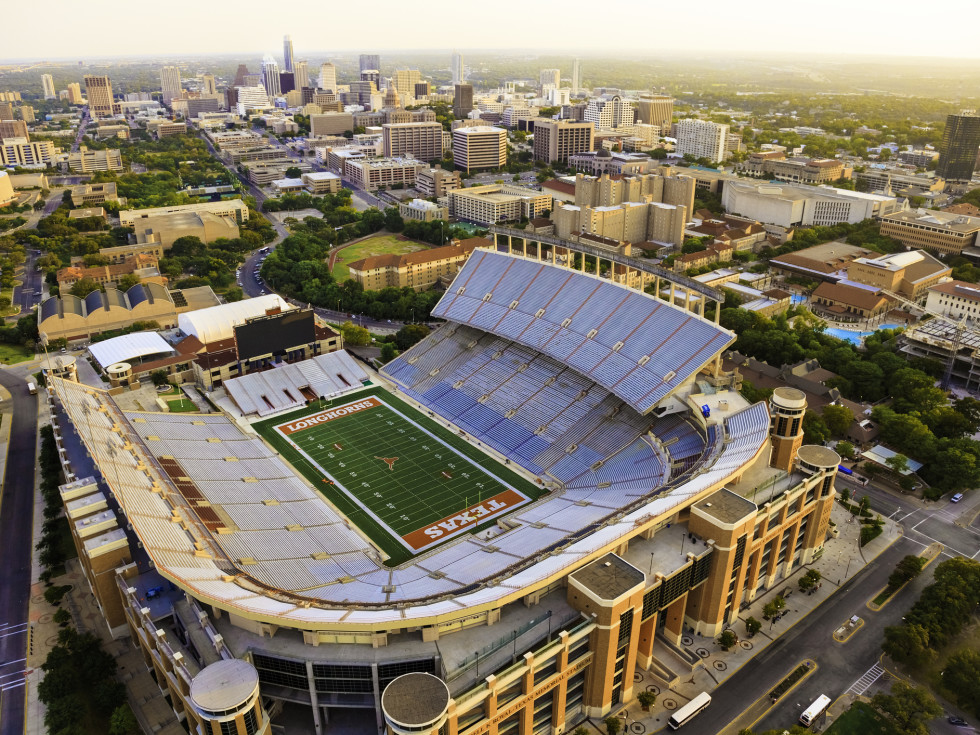 UT Austin football stadium aerial view