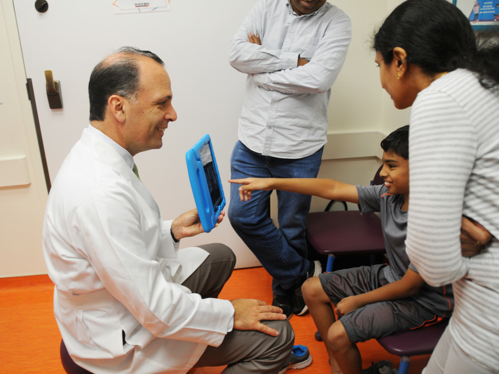 A child is treated for scoliosis