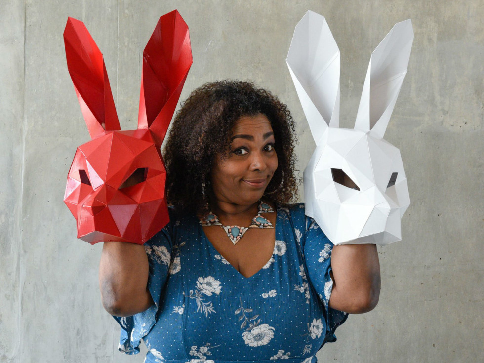 Liz Mikel in White Rabbit Red Rabbit