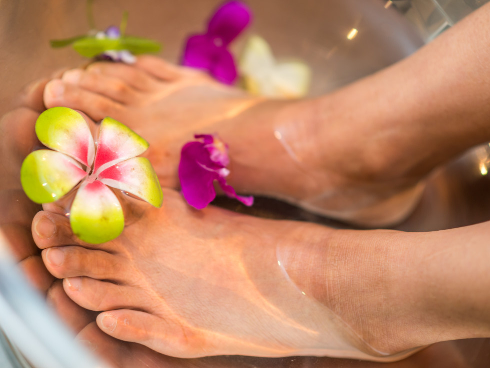 Woman receiving a passion fruit agave pedicure