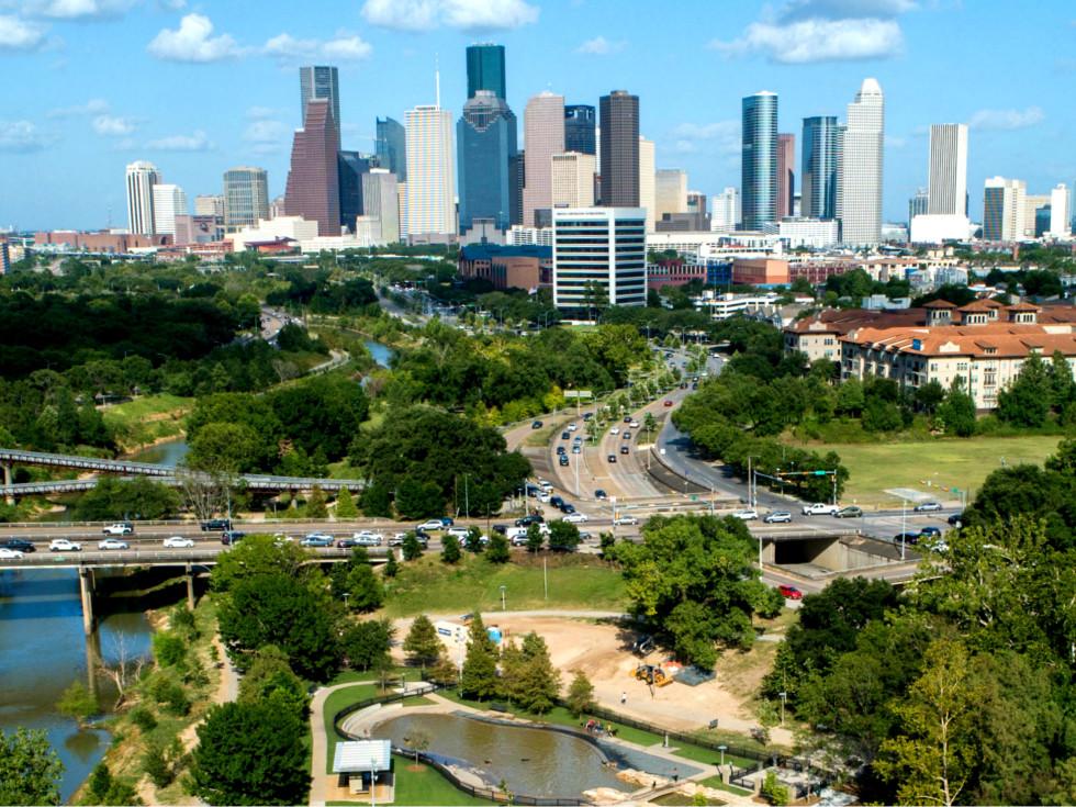 Houston skyline aerial drone crop