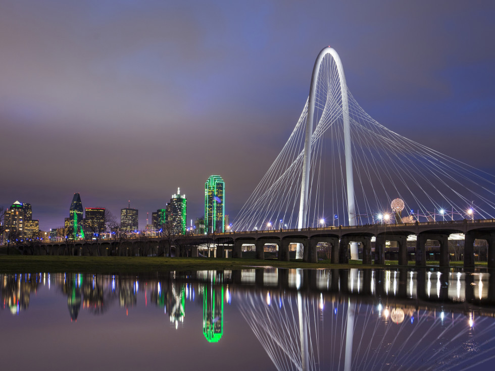 Dallas skyline featuring Margaret Hunt Bridge and Trinity River